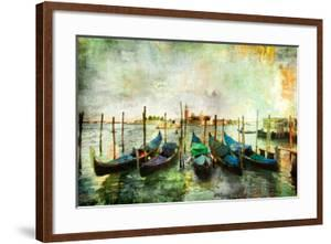 Gondolas - Beautiful Venetian Pictures - Oil Painting Style by Maugli-l