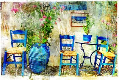 Pictorial Details of Greece - Old Chairs in Taverna- Retro Styled Picture by Maugli-l