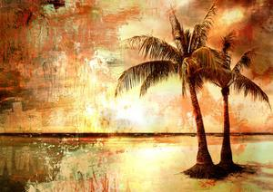 Tropical Sunset - Artwork In Painting Style by Maugli-l