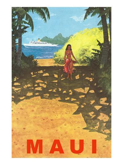 Maui, Cruise Ship, Hawaiian Girl on Jungle Path--Art Print