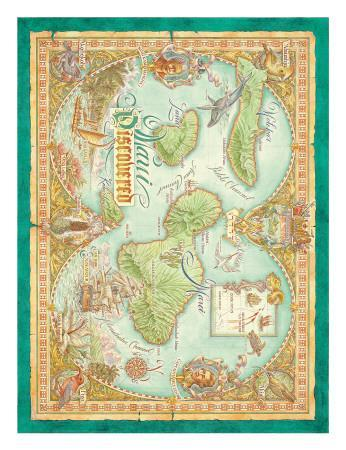 picture about Printable Map of Maui identify Maui Uncovered, Classic Map of Maui, Hawaii Artwork Print by way of Dave Stevenson