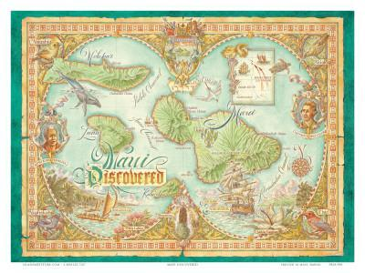 photograph about Printable Map of Maui referred to as Maui Figured out, Common Map of Maui, Hawaii Artwork Print through Dave Stevenson