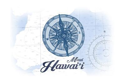 Maui, Hawaii - Compass - Blue - Coastal Icon-Lantern Press-Art Print