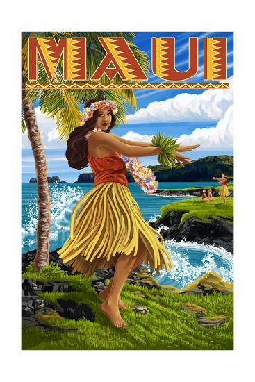 Maui, Hawaii - Hula Girl on Coast-Lantern Press-Art Print