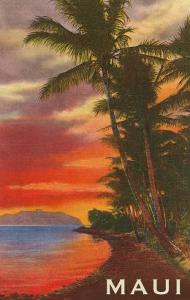 Maui, Palms and Sunset on Lagoon