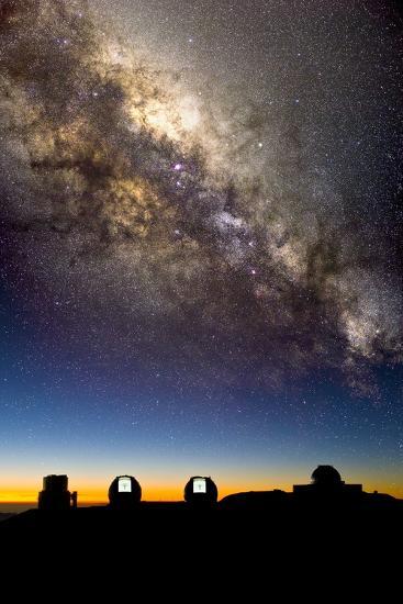 Mauna Kea Telescopes And Milky Way-David Nunuk-Photographic Print