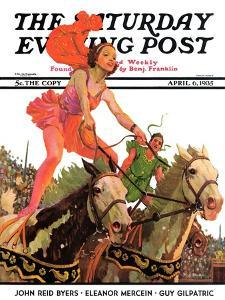 """""""Circus Bareback Riders,"""" Saturday Evening Post Cover, April 6, 1935 by Maurice Bower"""