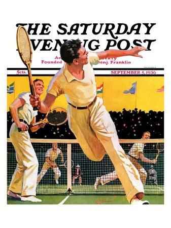 """Doubles Tennis Match,"" Saturday Evening Post Cover, September 5, 1936"