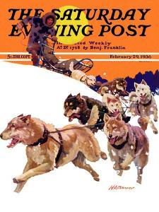 """""""Eskimo and Dog Sled,"""" Saturday Evening Post Cover, February 29, 1936 by Maurice Bower"""