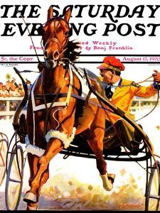 """""""Harness Race,"""" Saturday Evening Post Cover, August 17, 1935 by Maurice Bower"""
