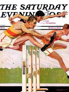 """""""Hurdlers,"""" Saturday Evening Post Cover, May 4, 1935 by Maurice Bower"""