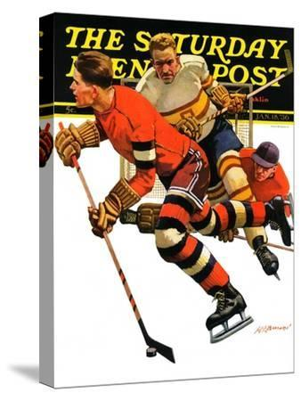 """Ice Hockey Match,"" Saturday Evening Post Cover, January 18, 1936"