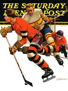 """""""Ice Hockey Match,"""" Saturday Evening Post Cover, January 18, 1936 by Maurice Bower"""