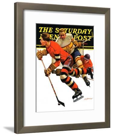 """Ice Hockey Match,"" Saturday Evening Post Cover, January 18, 1936"