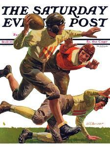 """""""Quarterback Pass,"""" Saturday Evening Post Cover, October 12, 1935 by Maurice Bower"""