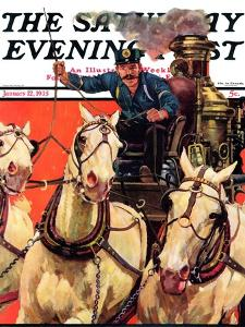 """""""Racing to the Fire,"""" Saturday Evening Post Cover, January 12, 1935 by Maurice Bower"""