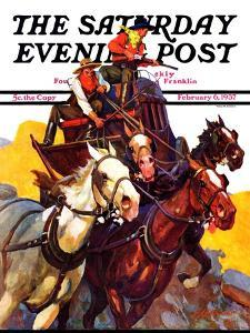 """""""Speeding Stagecoach,"""" Saturday Evening Post Cover, February 6, 1937 by Maurice Bower"""
