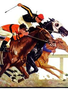 """""""Thoroughbred Race,"""" Saturday Evening Post Cover, August 4, 1934 by Maurice Bower"""