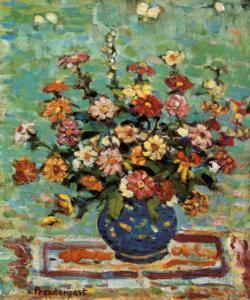 Flowers In A Blue Vase by Maurice Brazil Prendergast