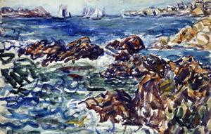 Rocky Cove with Village and Sketch of Rocks by Maurice Brazil Prendergast
