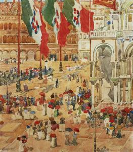 The Piazza of St. Marks, Venice by Maurice Brazil Prendergast