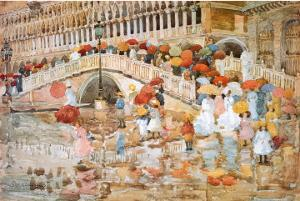 Umbrellas In The Rain by Maurice Brazil Prendergast