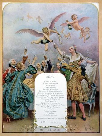 Ritz Restaurant Menu, Depicting a Group of Elegant 18th Century Men and Women Drinking Champagne