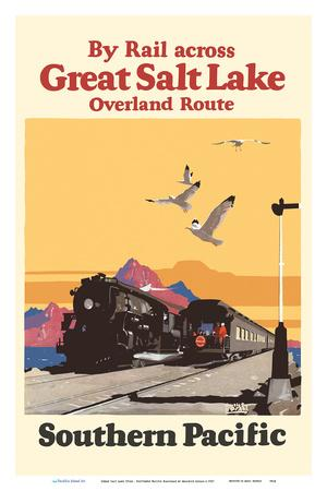 """24x36/"""" Vintage Railroad Art Crossing Great Salt Lake on Southern Pacific"""