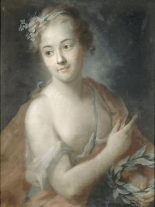 Nymphe de suite d'Apollon, tenant une couronne de lauriers (copie d'un pastel de Rosalba Carriera) by Maurice Quentin de La Tour