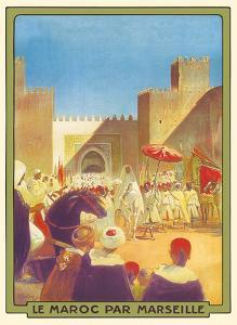 Le Maroc Par Marseille (Morocco by Marseille) - The Sultan Going to the Mosque of Fez by Maurice Romberg