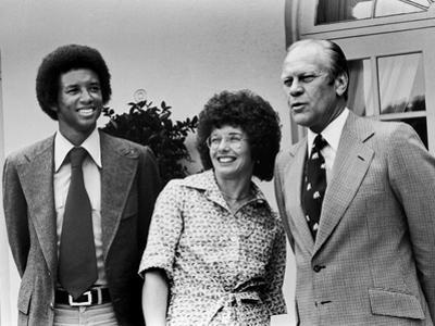 Professional Tennis Stars Arthur Ashe and Billie Jean King, 1975
