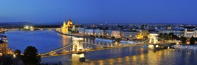 Szechenyi Chain Bridge and the Parliament at Twilight, Budapest, Hungary