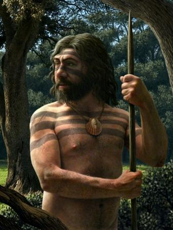 Neanderthal with Shell Ornament, Artwork by Mauricio Anton
