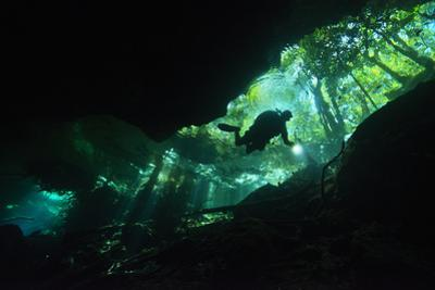 A Scuba Diver Illuminates the Way as He Explores Within the Clear Fresh Waters of Cenote Chac-Mool by Mauricio Handler