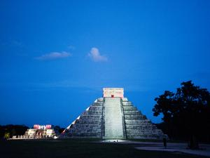'The Castle' in Blue Light with the 'Temple of the Jaguars' Behind It by Mauricio Handler