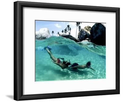 Two Snorkelers Explore the Baths in Virgin Gorda