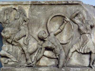 Mausoleum at Halicarnassus, Combat with the Amazons- Skopas of Paros-Giclee Print