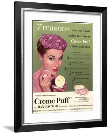 Max Factor, Creme Puff Foundation Powder Make-Up, UK, 1950--Framed Giclee Print
