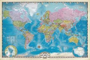 Map of the World with Poles by Max Kendricks