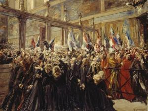 Pope Leo XIII, Blesses the Pilgrims in the Sistine Chapel, 1906 by Max Liebermann