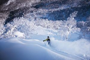 Skier Cuts Through Fresh Powder While Skiing Near Kiroro Resort by Max Lowe