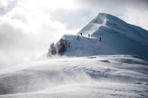Skiers Crest a Windblown Snowy Ridgeline by Max Lowe