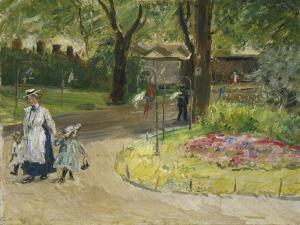The Entrance to the Zoological Gardens, Frankfurt (Papagaienallee), 1901 by Max Slevogt