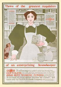 3 Greatest Requisites Of An Enterprising Housekeeper-Copco, Cottolene, Gold Dust Washing Powder by Maxfield Parrish