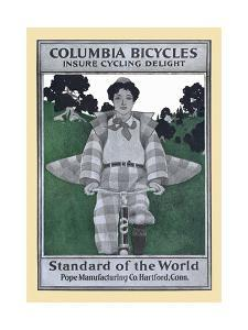 Columbia Bicycles Insure Cycling Delight, Standard Of World, Pope Manufacturing Co. Hartford, Conn. by Maxfield Parrish