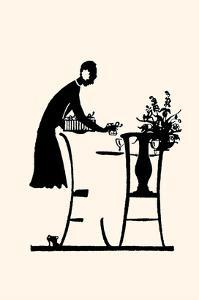Homemaker Fills a Vase with Flowers by Maxfield Parrish
