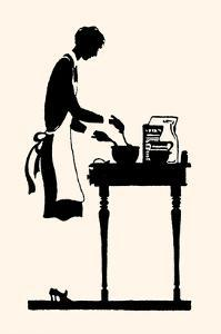 Homemaker Mixes Recipe in a Bowl by Maxfield Parrish