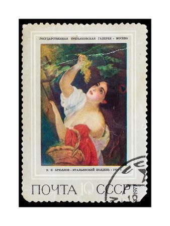 USSR - CIRCA 1973: Stamp Printed by Ussr, Shows KP Bryullov Ita