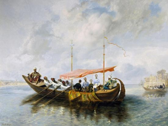 Maximilian of Habsburg and His Brother Carlo Ludovico on Board Halim Pasha's Boat in Smyrna, 1850-Peter Johann Nepomuk Geiger-Giclee Print