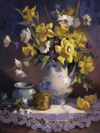 Daffodils and Lace by Maxine Johnston